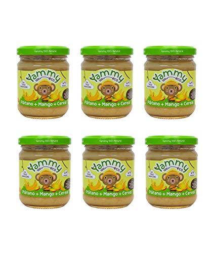 Yammy Tarrito De Plátano Mango Cereal Ecológico 195Gr X 6 Uds 4M+ 6 Unidades 2000 g