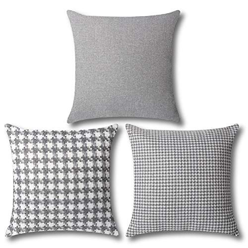 Artscope Set of 3 Vintage Cushion Covers 45x45cm, Traditional Houndstooth Pattern, Gray and White Retro Plaid Soft Throw Pillow Covers for Sofa Couch Home Decor (Gray)