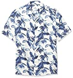 28 Palms Men's Relaxed-Fit 100% Silk Tropical Hawaiian Shirt, Vintage Blue/White Floral, Medium
