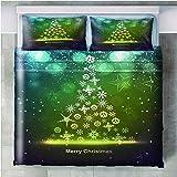 Juego de Ropa de Cama de 3 Piezas 3D Impreso Arbol de Navidad Microfibra Poliéster Bedding Set con Funda de edredón King Size 260x240cm y 2 Funda de Almohada