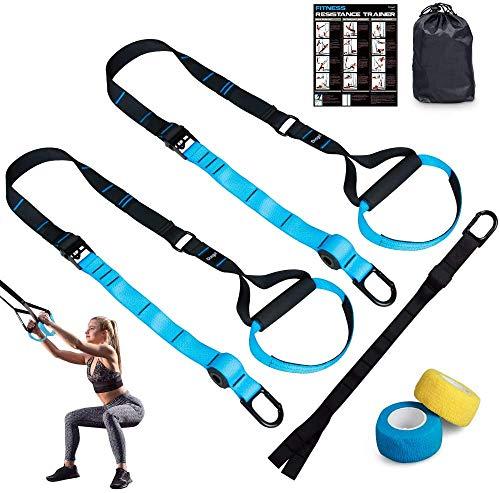 Dusgut Entrenamiento en Suspensión, Bandas Elásticas Fitness, Mejora la Flexibilidad y el Equilibrio, Adecuado para Entrenamiento Muscular, Entrenamiento Central, Ejercicio Aeróbico (Azul)