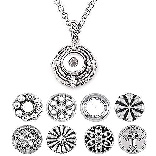AKKi jewelry Petite 12mm Click Button Set Angebot mit 8 gemischte Druckknöpfe und 1 Accessoires Armband kompatibel mit Chunks Amsterdam Silber Damen Kette zirkonia Schmuck Set Kette 1