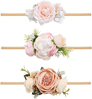 Baby Girl Flower Headbands Set 3pcs Elastic Hairbands Floral Crown Wraps for Newborn Infant Toddler Hair Accessories
