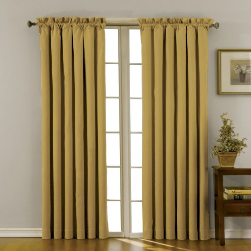 """ECLIPSE Blackout Curtains for Bedroom - Canova 42"""" x 84"""" Insulated Darkening Single Panel Rod Pockets Window Treatment Living Room, Gold"""