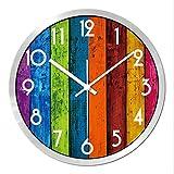 BiuTeFang Reloj de pared, creativos, salón, mute, Reloj de pared, color, textura,...