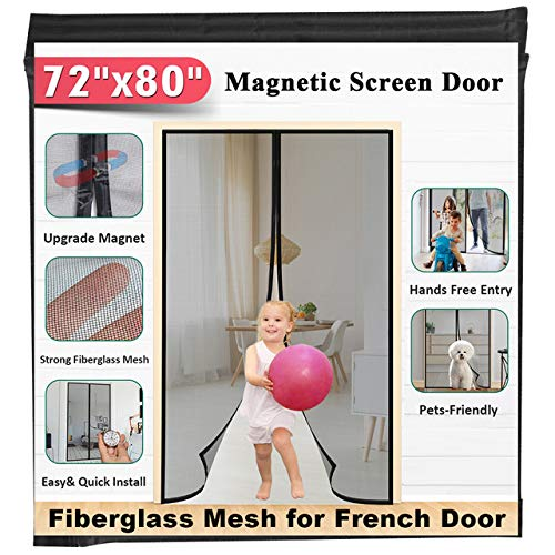"72""x80"" Fiberglass Magnetic Screen Door - Mkicesky [Upgrade Reinforced Mesh] for French Door/Sliding Door, with Hands-Free, Kids/Pets Entry Freely, Full Frame Hook&Loop"