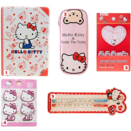 Sanrio Japan Hello Kitty Merchandise Stationary Gift Set for her : 5 Items include Icon Paper Clip, Post Note, Adorable Pencil Pouch, Cute Notebook and Pen Set (Pink)