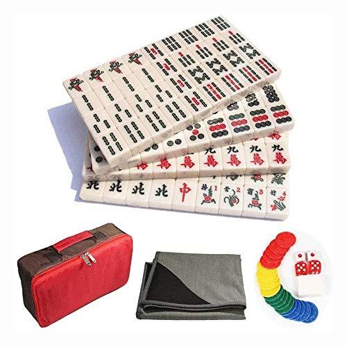 Big Shark Mini Fliesen Mahjong Game Set.144 Fall Komplettset Geschenk/Geburtstag Grün/Fine Acrylmaterial mit Leder-Kasten,