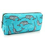 LParkin Cute Narwhal Canvas Pencil Case Pen Bag Pouch Stationary Case Gadget Makeup Cosmetic Bag Box