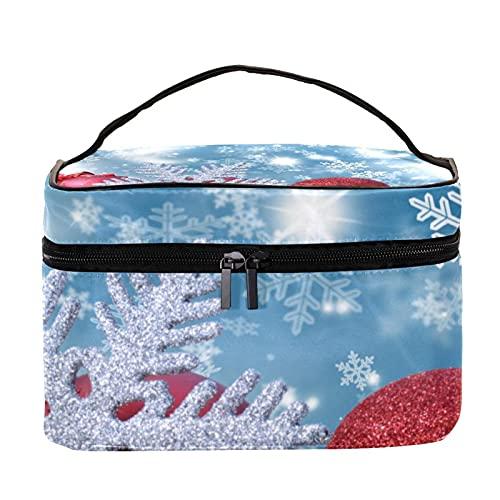 Bolsa de maquillaje de viaje para decoración de Navidad y frascos de nieve, bolsa de maquillaje grande, organizador con cremallera, para mujeres y niñas