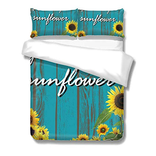 No Branded Bedding Set Cover, Sunflower Turquoise Teal Wooden Board, Quilts King Size, Decorative Soft Microfiber Comforter Cover with 2 Pillow Shams,Zippered, Colorful 3 Pieces