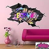 Personalisiert 3D Multi Farbe Graffiti Personalisierter Name Ausgebrochenes Ziegelstein Optik Wand Kunst Aufkleber mit Grauer Bordüre für Teenager Mädchen und Jungen WSDPGN109
