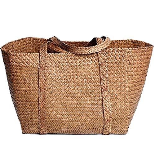 XINGDONG Cesta de almacenamiento de algas marinas, cesta de la compra, cesta grande, cesta de almacenamiento para tejer, cesta de baño (color: marrón)