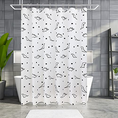 Kids Shower Curtain for Bathroom, White Textured Fabric Bath Curtain Water Resistant Shower Curtains, 12 Hooks Include Shower Curtain Liner for Boys, Machine Washable, 72 x 72 inch
