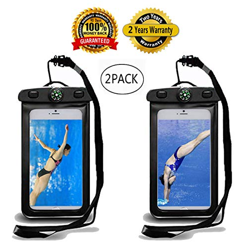 """Best Compass Universal Waterproof Phone Case, Dry Pouch Outdoor Cell Phone Floating Bag,Cruise Travel Essentials.Protects Cellphone up to 6.0"""",Credit Cards, Cash…"""