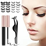 EONSIX Magnetic Eyelashes with Eyeliner - 10 Pairs Reusable 3D 5DMagnetic Lashes Set with 2 Special Magnetic Eyeliner, Handmade False Eyelashes Natural Look.