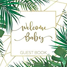 Welcome Baby Guest Book: Tropical Safari Jungle Theme — Leaves & Gold Frame Cover Edition