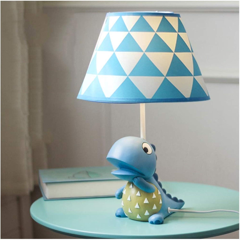 YYF Dinosaurier-Tischlampe des Kinderzimmers - Jungenschlafzimmerkarikatur-Dreiecknachttischlampe (Farbe   Blau-42cmX25cm)