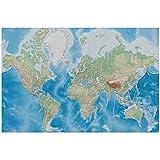GREAT ART Mural de Pared ? Mapa del Mundo ? Proyección de Miller en Relieve de plástico diseño Tierra Atlas Globo Mapa geografía Foto Papel Tapiz y decoración 210 x 140 cm