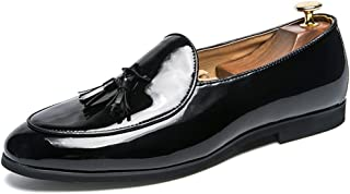 2019 Mens New Lace-up Flats Men's Business British Fashion Metal Tassel Cover Oxford Casual Foot Patent Leather Formal Shoes