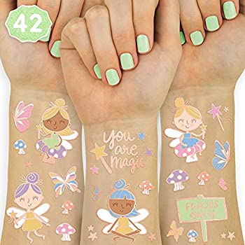xo Fetti Fairy Tattoos - 42 Glitter Styles   Magical Birthday Party Supplies Woodland Fairy Godmother Mushroom Butterfly Arts and Crafts
