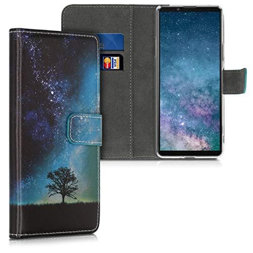 kwmobile Hülle kompatibel mit Sony Xperia 10 II - Kunstleder Wallet Hülle mit Kartenfächern Stand Galaxie Baum Wiese Blau Grau Schwarz