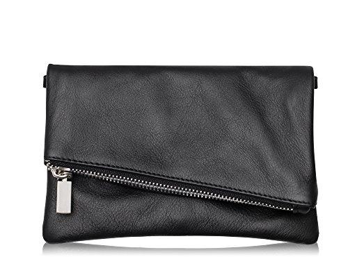 Samira Damen Clutch Abendtasche Handtasche aus echtem Leder Farbauswahl (Schwarz)
