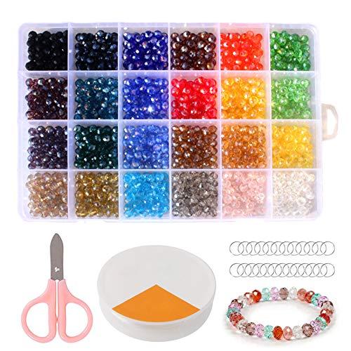 1200Pcs 6mm Perline Cristallo Sfaccettato, Perline di Vetro AB Sfaccettate, Perline in Cristallo, Perline in Vetro Sfaccettato per Fai da Te Mini Perle di Braccialetti, Collane, Bigiotteria