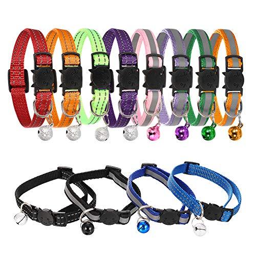 SUI-lim 12 Stück Reflektierendes Katzenhalsband, Katzenhalsbänder mit Glocke, Schnellverschluss Katzenhalsband, Verstellbar 19-32 cm, Halsbänder für die meisten Hauskatzen, Kleine Hunde