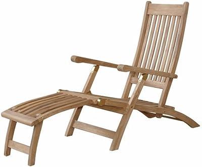 Anderson Teak Tropicana Steamer Chair, Linen Straw