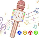 Wireless Bluetooth Karaoke Microphone, 5-in-1 Portable Handheld Mic Speaker Player Recorder with Controllable