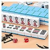 Dpliu Producto Inicio Mahjong de Primera Clase, Jugador de Mahjong Medio-Grande, Mantel Gratis, Bolso Suave (Color: Azul, Tamaño: 42mm)