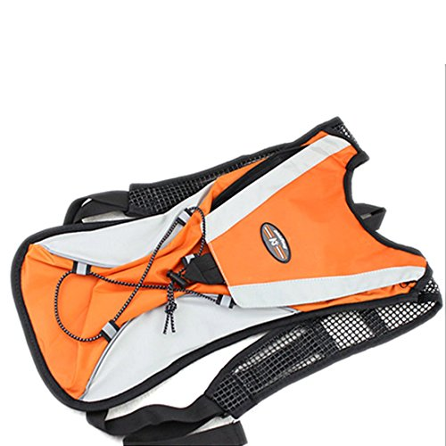 Light Weight Hydration Backpack - Assorted Colors (Orange) | Free 2-Liter Hydration Bladder with Adjustable Chest & Shoulder Straps | Best for Hiking, Biking, Running, Climbing, Cycling (Orange)