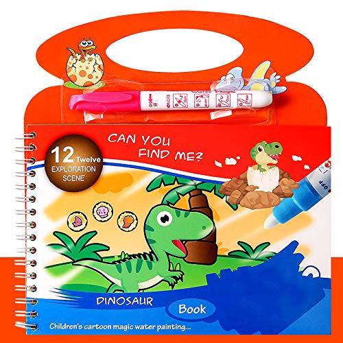 KUYG Aquarell Bücher Wiederverwendbare Wasserzeichnung Malerei Spielzeug Reise-Kits mit Bonus-Stiften Geschenk für Kinder