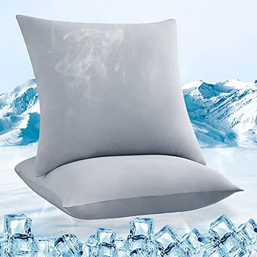 Luxear kühlender Kissenbezug 2er Set, Kopfkissenbezug elastisch mit Arc-Chill Kühlfasern atmungsaktiv, seidige Kissenbezüge mit Reißverschluss weichdünn, Haare/Haut schonende Kissenhülle, 80x80cm-Grau