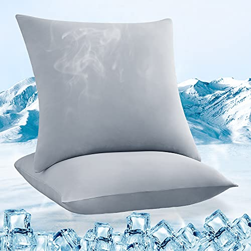 Luxear kühlender Kissenbezug 2er Set, Kopfkissenbezug elastisch mit Arc-Chill Kühlfasern atmungsaktiv, seidige...
