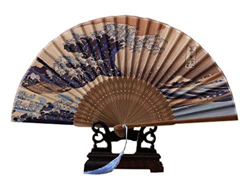 Ys&Ts Japanese Handheld Folding Fan, with Traditional Japanese Ukiyo-e Art Prints (Great Wave Off Kanagawa)