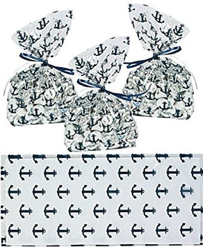 Nautical Anchor Cellophane Party Favor/Wedding Bags (48)