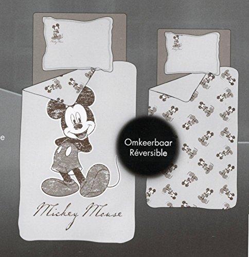 Parure de lit Housse de couette Réversible DISNEY MICKEY • GRAND MOTIF BEIGE • 140 x 200 cm + taie d'oreiller • Mickey Mouse Duvet Cover • no Minnie