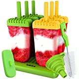 Lebice Popsicle Molds Set - BPA Free - 6 Ice Pop Makers + 1 Silicone Lid + Silicone Funnel + Cleaning Brush + Recipes E-book