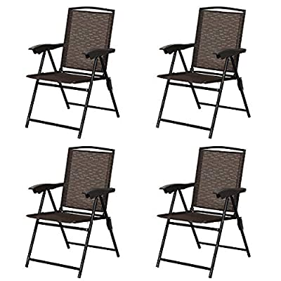 Goplus Sets of 4 Folding Sling Chairs Portable Chairs for Patio Garden Pool Outdoor & Indoor w/Armrests