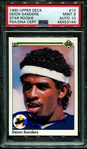 1990 Upper Deck Star Rookie #13 Deion Sanders Rc Psa 9 Dna Auto 10 B1013833-144 - Football Slabbed Autographed Rookie Cards