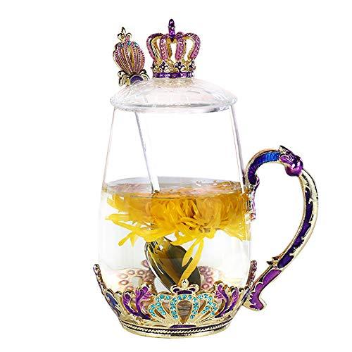 Tazas de té con tapa y cuchara para mujeres y niñas, diseño hecho a mano, resistente, duraderas, de cristal transparente, idea de regalo única para mamá, esposa, hermana, hija y amigo