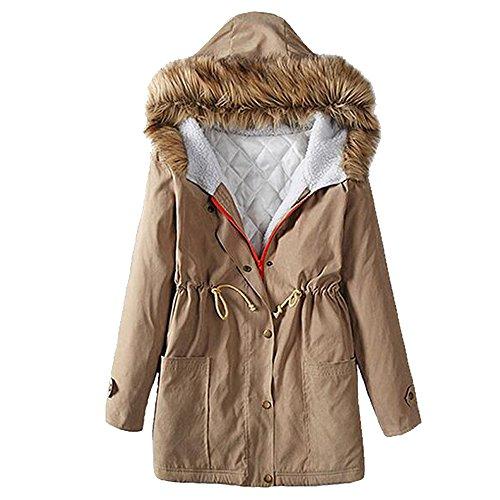 KINDOYO Femme Hiver Coton Long Manteau à Capuche Col de Fourrure Épaisse Hoodies Blouson Pardessus - Abricot