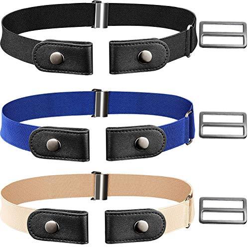 CNNIK 3 pezzi cintura elasticizzata senza fibbia con fibbie extra per donna e uomo, cintura elastica in vita fino a 78 pollici per pantaloni jeans