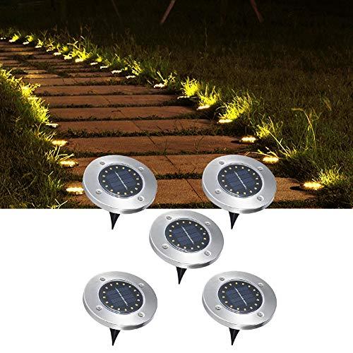 Luz subterránea con energía Solar de 5 Piezas para Cama de Flores, césped, Piscina, Patio, Jardines