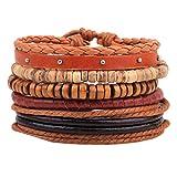 Mehrschichtiges Lederarmband Vintage Bohemian Wood Waxed Cord Armreif Perlen Armbänder Manschette Armband für Männer Frauen