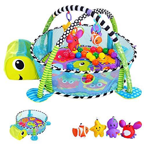 KINDEREO 3in1 Schildkröte Erlebnisdecke, Bällebad, Krabbeldecke, Spielbogen, Spieldecke, Lernmatte