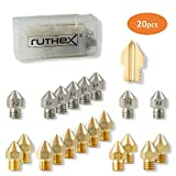 ruthex MK8 juego de boquillas de impresora 3D [20 piezas] | 12x latón 8x boquillas de acero inoxidable | 1,75 filamento | para impresoras 3D Creality Ender 3/5/CR-10 | Anet A8 | MakerBot