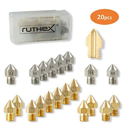 ruthex 3D Drucker Düsen/Nozzle MK8 Set [20 Stück] | 12x Messingdüsen 8x Edelstahldüsen | 1,75 Filament | für 3D-Drucker z. B. Creality Ender 3/5 / CR-10 | Anet A8 | MakerBot